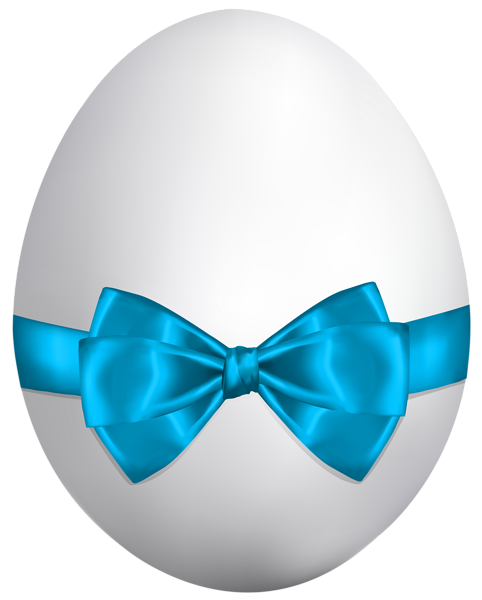 White_Easter_Egg_with_Blue_Bow_PNG_Clip_Art_Image